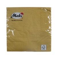 Servetele de masa Maki, celuloza, auriu, 3 straturi, 33 x 33 cm, 20 buc / set