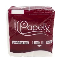 Servetele de masa Papely, celuloza, alb, 1 strat, 24 x 24 cm, 100 buc / set