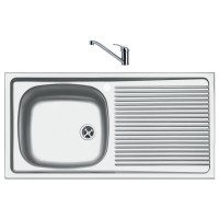 Chiuveta bucatarie inox lucios Franke ESN 611-86 cuva pe stanga 86 x 43.5 cm + baterie Basic cromata