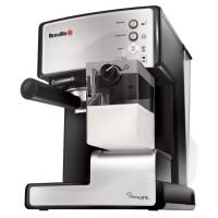 Espressor cafea Breville Prima Latte Silver VCF045X-DIM, cafea macinata + capsule, 15 bar, 1050 W, capacitate 1.5 litri, recipient lapte detasabil 0.3 litri, functie autocuratare, sistem termoblock, argintiu + negru