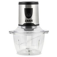Tocator Zass ZMCH 02, 200 W, 1 treapta de viteza, 1.2 litri, bol din sticla, cutit cu 2 lame din otel inoxidabil, sistem de siguranta prin blocare, argintiu + recipient plastic 400 ml si capac + recipient pentru macinat + decorticator usturoi