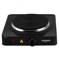 Plita electrica Albatros AP16B, 1500 W, 1 arzator, termostat reglabil, led de functionare, protectie la supraincalzire, picioruse antialunecare, neagra
