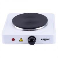 Plita electrica Albatros AP16W, 1500 W, 1 arzator, termostat reglabil, led de functionare, protectie la supraincalzire, picioruse antialunecare, alba