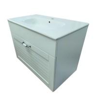Masca baie pentru lavoar, Martplast Oslo, cu sertare, alb, montaj suspendat, 79.2 x 45.3 x 58 cm