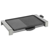 Gratar electric Delimano Joy 110069959, 2300 W, dubla suprafata - gratar si plita, termostat reglabil, suprafata de gatit din aluminiu, placa anti-aderenta, tava colectare grasime, argintiu + negru