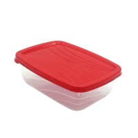 Cutie depozitare pentru alimente, Luna, polipropilena, dreptunghiulara, transparent + rosu, 1.5 L