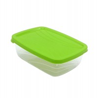 Cutie depozitare pentru alimente, Luna, polipropilena, dreptunghiulara, transparent +verde, 1.5 L