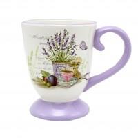 Halba bere HC1641-S08, model lavanda, ceramica, alb + violet, 600 ml