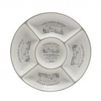 Farfurie pentru servirea mesei Country Style HC8A04-G40, ceramica, alb + gri, 25.5 x 25.5 cm