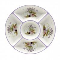 Farfurie pentru servirea mesei, HC8A04-G40, model lavanda, ceramica, alb + violet, 25.5 x 25.5 cm