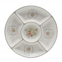 Farfurie pentru servirea mesei Sweet Home HC8A04-A21, ceramica, alb + gri, 25.5 x 25.5 cm