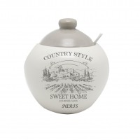 Recipient pentru ingrediente HC2020-G40, model Country Style, ceramica, alb + gri, 550 ml, 11.4 x 12 cm