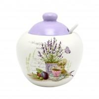 Recipient pentru ingrediente HC2020-S08, model lavanda, ceramica, alb + violet, 550 ml, 11.4 x 12 cm