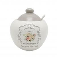 Recipient pentru ingrediente HC2020-A21, model Sweet Home, ceramica, alb + gri, 550 ml, 11.4 x 12 cm