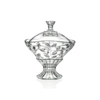 Bomboniera cu picior, Laurus RCR, sticla cristalina, 15 x 18 x 13.7 cm