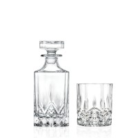 Pahar + sticla whisky, Opera RCR, din sticla cristalina, 300 + 750 ml, set 7 bucati