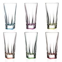 Pahar apa, HB Fusion RCR, din sticla cristalina, multicolor, 360 ml, set 6 bucati