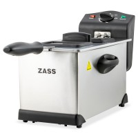 Friteuza Zass ZDF 05, 2000 W, 3 litri, termostat reglabil 130 - 190 grade C, carcasa din otel inoxidabil, lampa de control functionare si incalzire, capac cu fereastra din sticla si filtru, maner izolat termic, argintiu + negru