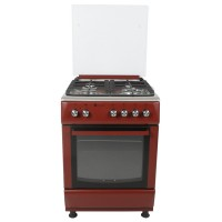 Aragaz pe gaz Studio Casa Peony 4G 60/60CMRED, 4 arzatoare, 1 arzator Wok, cuptor pe gaz, grill electric, aprindere electrica, dispozitiv siguranta arzatoare si cuptor, iluminare cuptor, latime 60 cm, rosu