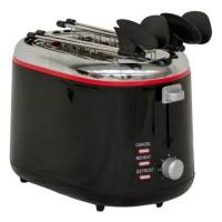 Prajitor de paine Ardes AR1T25 BK, 850 W, 2 felii, functie decongelare, functie reincalzire, functie anulare, clesti din otel inoxidabil, timer, tava pentru firimituri detasabila, negru