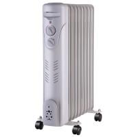 Radiator electric cu ulei Paxton RE-9-2000Y, 3 trepte, 2000 W, 410 x 240 x 625 mm, 9 elementi, termostat reglabil, maner si rotite pentru o deplasare facila, alb