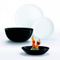 Farfurii Luminarc Diwali, opal, alb / negru, set 19 piese