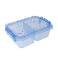 Cutie depozitare alimente Mara, plastic, dreptunghiulara, transparent + albastru, 0.5 L