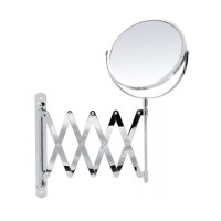 Oglinda cosmetica pentru baie, Ridder 38141, pliabila, cu lupa, montaj pe perete, factor marire 2X, D 16.5 cm