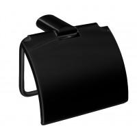Suport pentru hartie igienica, Io Bagno Marylin AR1712BK, cu clapeta, negru, 13 x 11 x 4.7 cm