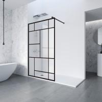 Perete dus tip walk-in, sticla cu model, profil negru, Profiltek Fado, 100 x 195 cm