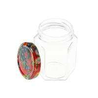 Borcan hexagonal cu capac, stricla transparenta, 196 ml, set 3 bucati