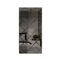Oglinda decorativa, tip panou, gri, 50 x 100 cm