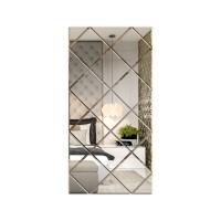 Oglinda decorativa, tip panou, argintie, 75 x 150 cm