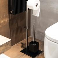 Suport stativ pentru hartie igienica, perie WC inclusa, AWD02071617, fara clapeta, cromat + negru, 66 x 22 x 18 cm