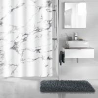 Perdea dus Kleine Wolke Marble 34280, imitatie marmura, alb / gri, 180 x 200 cm