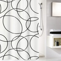Perdea dus Kleine Wolke Rings 34281, model cercuri, alb / negru, 180 x 200 cm