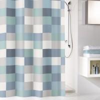 Perdea dus Kleine Wolke Check 34282, model carouri, gri / albastru, 180 x 200 cm