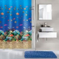 Perdea dus Kleine Wolke Malediven 34286, model marin, multicolor, 180 x 200 cm