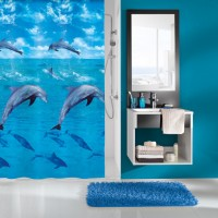 Perdea dus Kleine Wolke Dolphin 34287, model marin, albastru, 180 x 200 cm