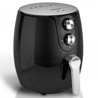 Friteuza Rohnson Hot Air Fryer R2812, cu aer cald, 1500 W, 2.5 litri, termostat reglabil 80 - 200 grade C, temporizator 60 min, oprire automata, indicator luminos, picioare antiderapante, protectie supraincalzire, neagra