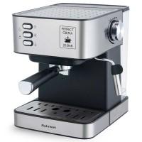 Espressor cafea Rohnson R982, cafea macinata, 20 bar, 850 W, capacitate 1.6 litri, filtru special sub presiune pentru strat cremos, accesoriu sub presiune pentru spumat lapte, led indicator, argintiu + negru