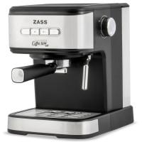 Espressor cafea Zass ZEM 03, cafea macinata, 20 bar, 850 W, capacitate 1.5 litri, panou de control cu 4 butoane iluminate, buton rotativ pentru controlul gradului de spumare, argintiu + negru