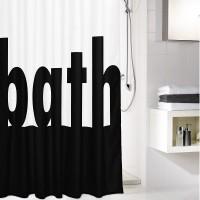 Perdea dus Kleine Wolke Bath 34292, text alb / negru, 180 x 200 cm