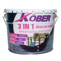 Vopsea alchidica pentru metal Kober 3 in 1, interior / exterior, neagra, 10 L