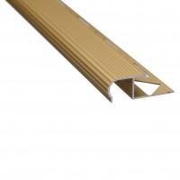 Profil aluminiu pentru treapta, incorporabil, SET S81 auriu, 2.5 m