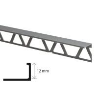 Profil aluminiu terminatie gresie si faianta, SET S52, argintiu, 12 x 21 x 2.500 mm