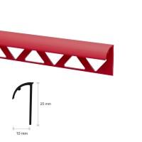 Profil PVC margine gresie si faianta, SET N31318, uni, rosu, 10 x 25 x 2.500 mm