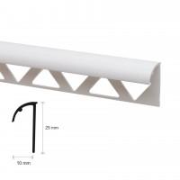 Profil PVC margine gresie si faianta, SET N31318, uni, alb, 10 x 25 x 2.500 mm