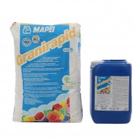 Adeziv flexibil bicomponent pentru gresie si faianta Mapei Granirapid A + B, interior / exterior, alb, 28 kg