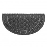 Covor intrare exterior Pinmix Wave, cauciuc, negru, semicerc, 60 x 40 cm